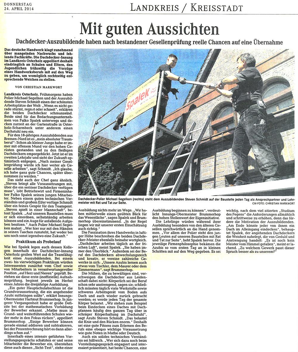 Pressebericht 24 April 2014 1000x1182px | Dachdeckerei Spalek OHZ