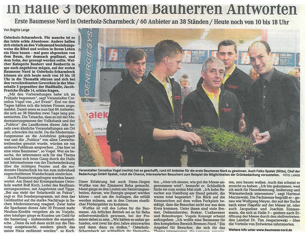 Pressemitteilung WESER-KURIER 1000x770px | Dachdeckerei Spalek OHZ